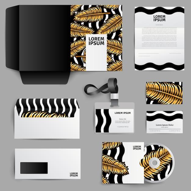 Design di identità aziendale con foglie di palma d'oro Vettore gratuito