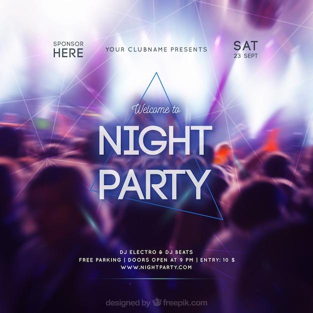 Design di invito a una festa con la folla Vettore gratuito