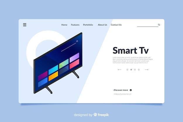 Design di landing page per smart tv Vettore gratuito