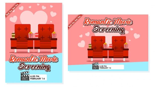 Design di manifesti per la proiezione di film romantici. disponibile in dimensione orizzontale e verticale. Vettore Premium