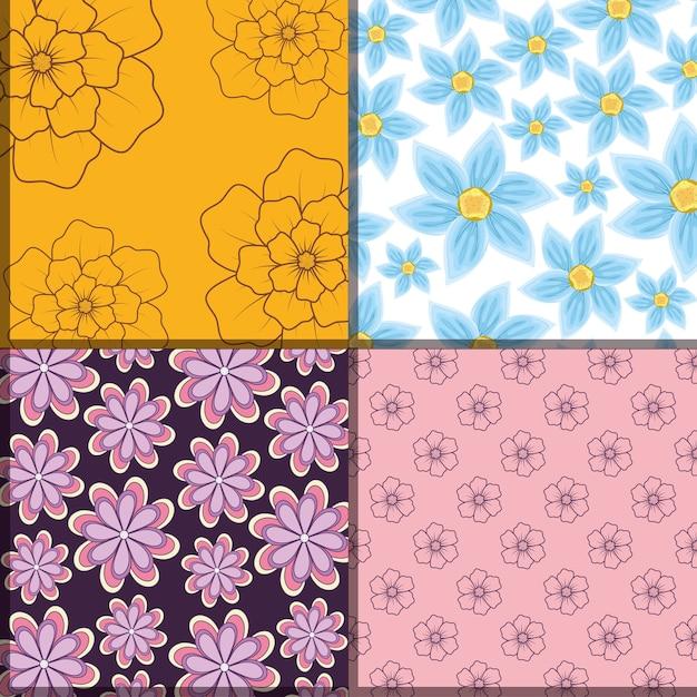 Design di piazze di motivi floreali bellissimi e tropicali Vettore Premium