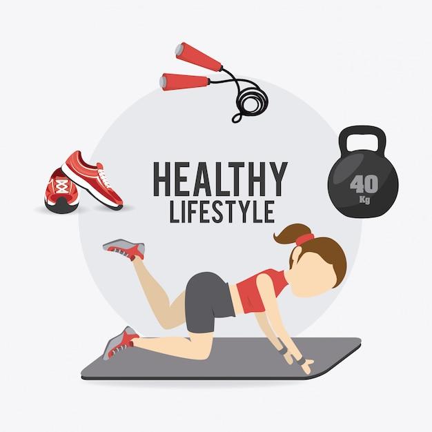 Design di stile di vita fitness. Vettore Premium