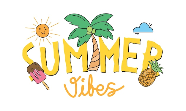 Design di t-shirt estive Vettore Premium