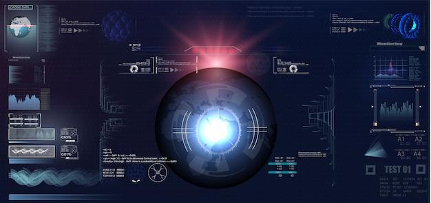 Design di visualizzazione head-up vr futuristico Vettore Premium