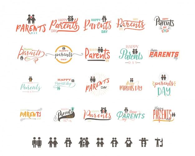 Design distintivo del giorno dei genitori Vettore Premium