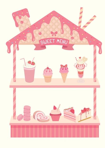 Design dolce del menu per scaffale con gusto fragola. Vettore Premium