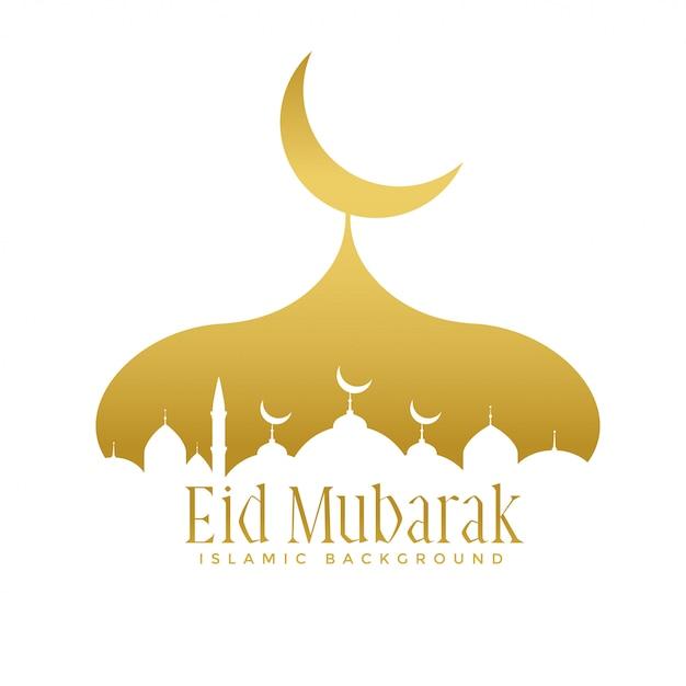 Design dorato della moschea creativa per il festival di eid mubarak Vettore gratuito