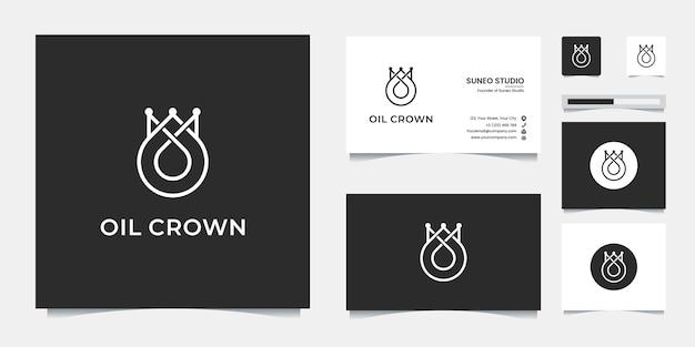 Design e biglietto da visita in stile premium linea corona d'olio Vettore Premium