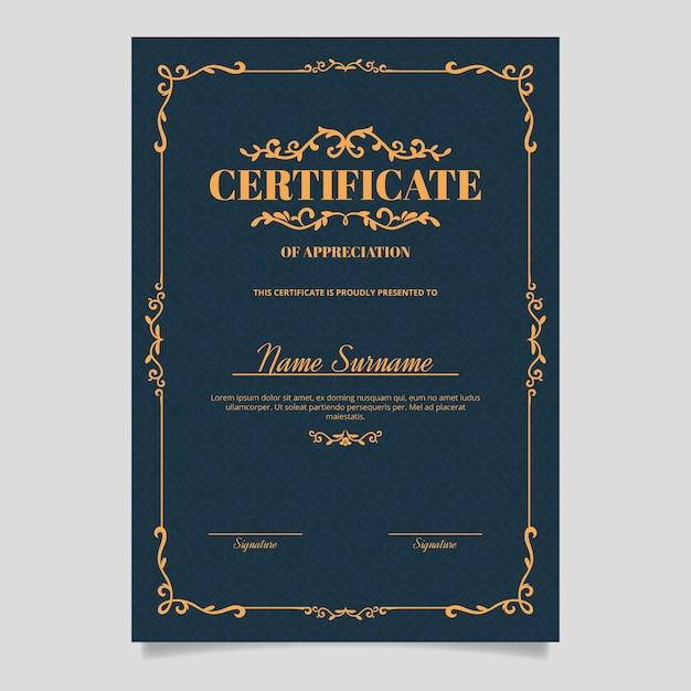 Design elegante aspetto vittoriano modello di certificato Vettore gratuito