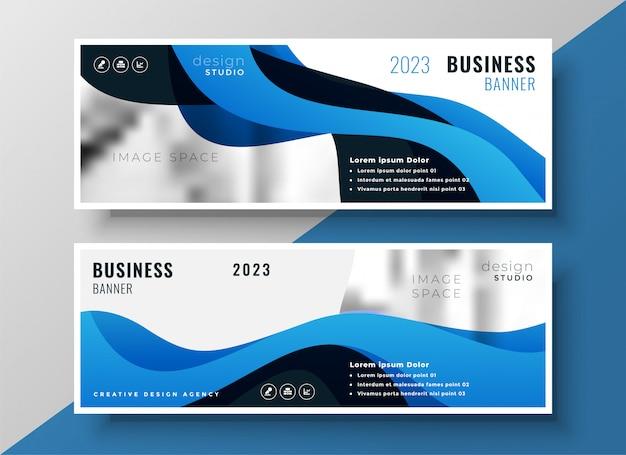 Design elegante bandiera blu affari ondulati Vettore gratuito