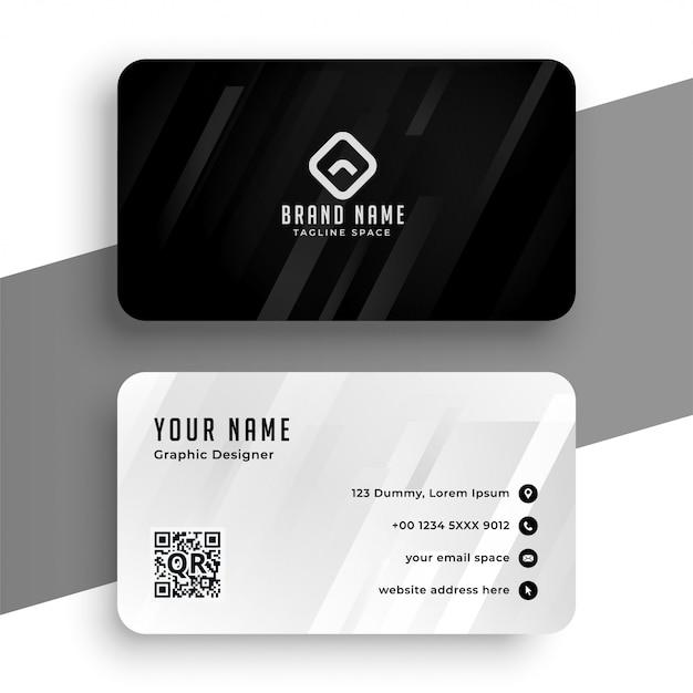 Design elegante biglietto da visita bianco e nero Vettore gratuito