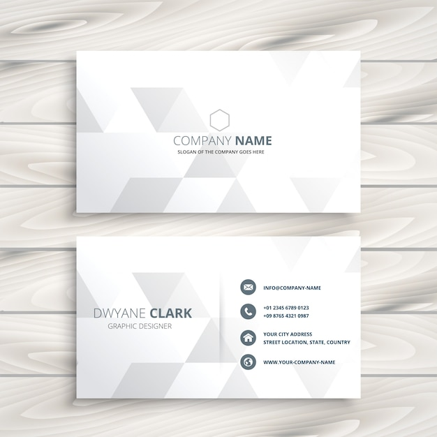 Design elegante biglietto da visita bianco Vettore gratuito