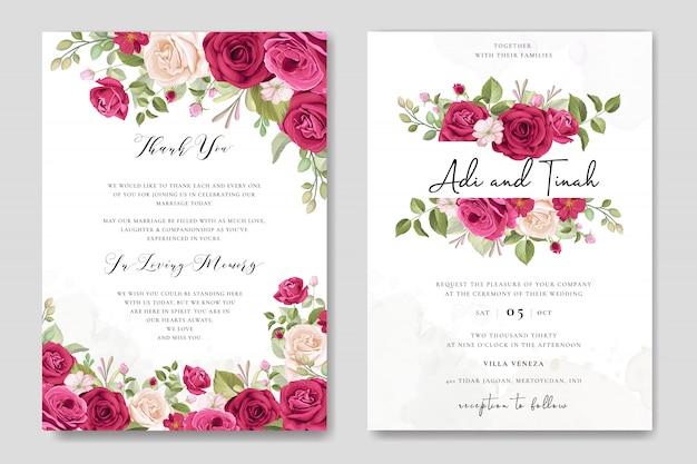 Design elegante carta di nozze con bellissimo modello di corona di rose Vettore Premium
