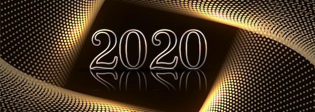 Design elegante del modello della bandiera di celebrazione di nuovo anno 2020 Vettore gratuito