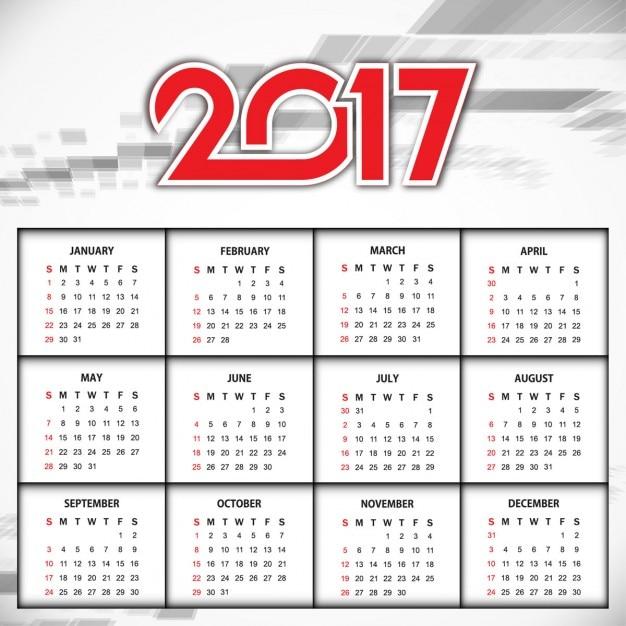 Calendario Anno 2017.Design Elegante Del Nuovo Anno 2017 Del Calendario