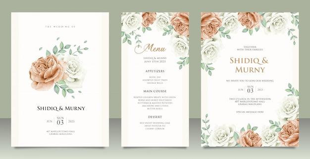 Design elegante modello di carta di invito matrimonio con peonie Vettore Premium
