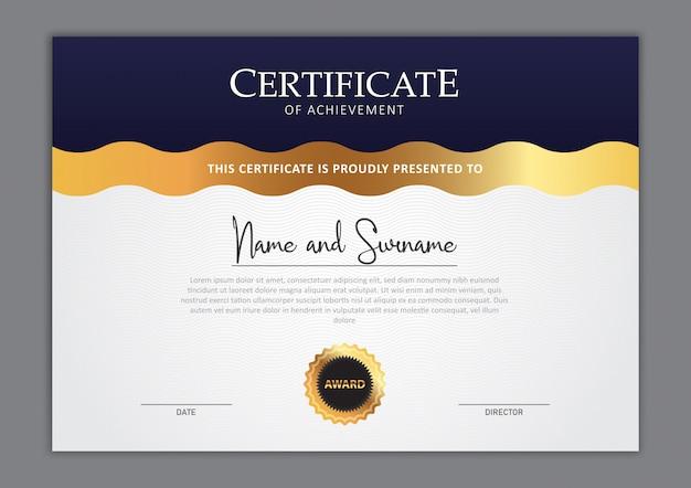 Design elegante modello di certificato Vettore Premium