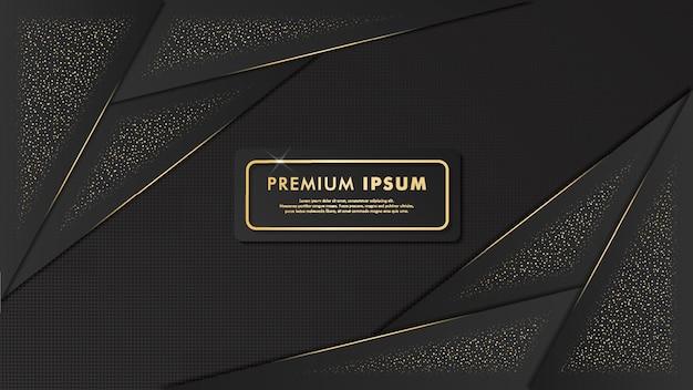 Design elegante modello di sfondo nero e oro Vettore Premium