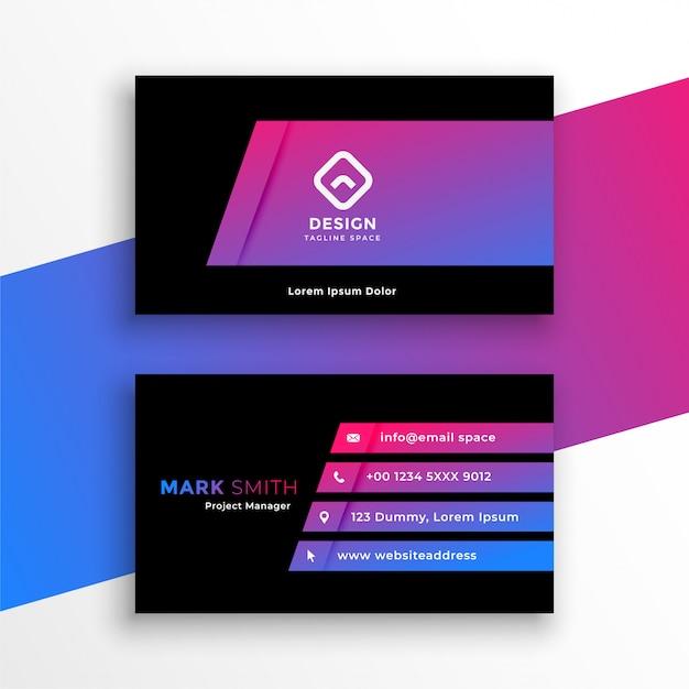 Design elegante vibrante viola biglietto da visita modello Vettore gratuito
