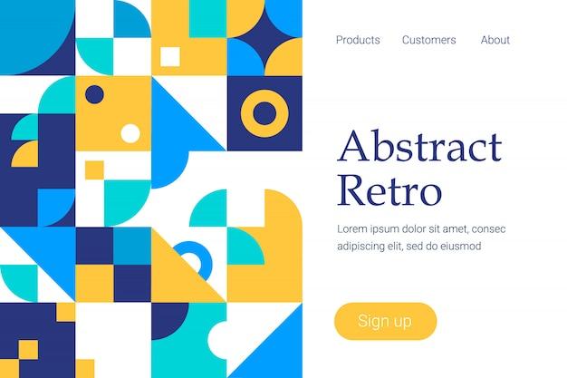 Design geometrico astratto retrò per modello di sito web o landing page Vettore Premium