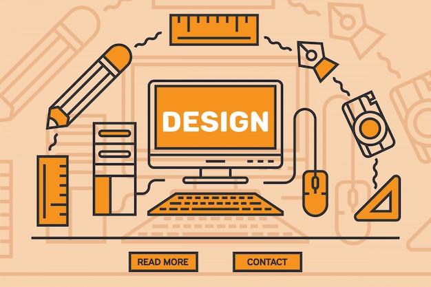 Design grafico a linea piatta Vettore Premium