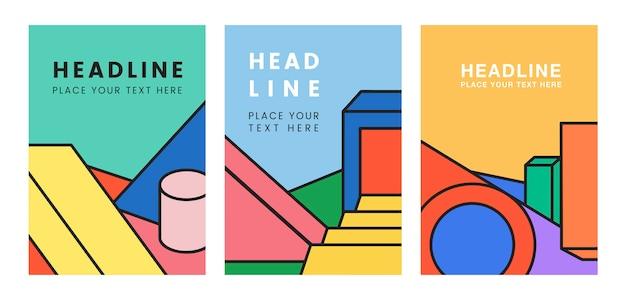 Design grafico colorato mockup titolo Vettore gratuito