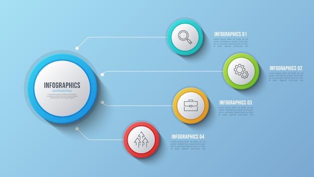 Design infografico a 4 opzioni, diagramma struttura, presentati Vettore Premium