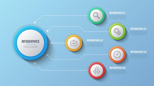 Design infografico a 5 opzioni, diagramma struttura, presentati Vettore Premium