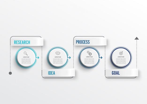 Design infografico minimal a linea sottile e 4 opzioni o passaggi. Vettore Premium