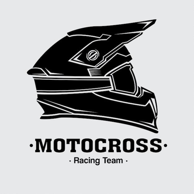 Design logo caschi da motocross Vettore Premium