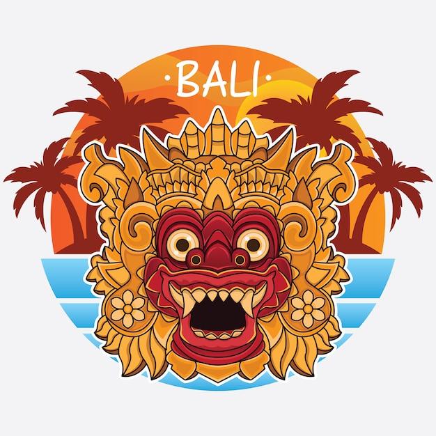 Design logo dell'isola di bali Vettore Premium