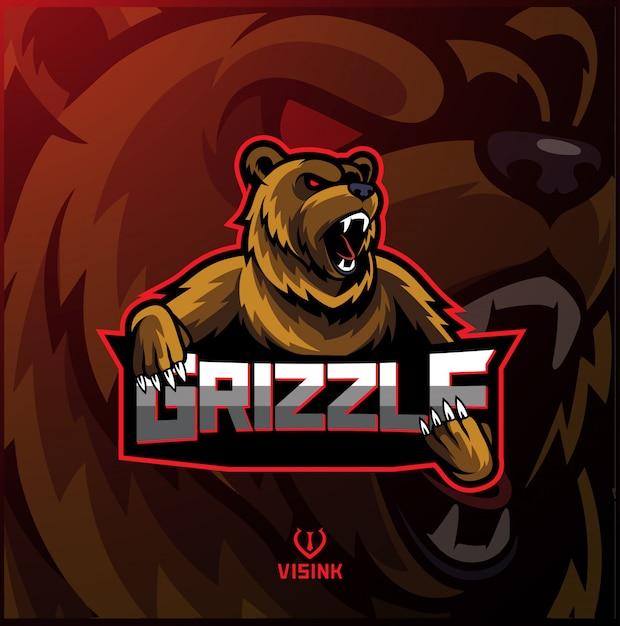 Design logo mascotte sport grizzly Vettore Premium