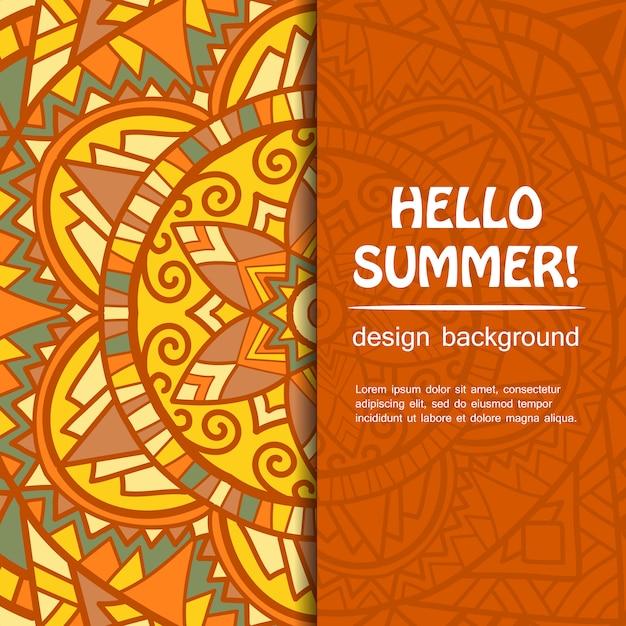 Design mandala estate. origine etnica. Vettore Premium