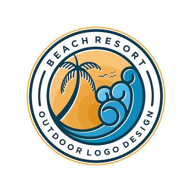 Design minimal con logo resort sulla spiaggia Vettore Premium
