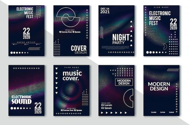 Design minimale delle copertine. sfumature di mezzetinte colorate. futuri motivi geometrici. eps10 vettoriale Vettore Premium