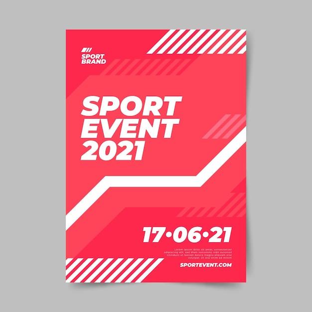 Design minimalista modello di poster di eventi sportivi Vettore gratuito