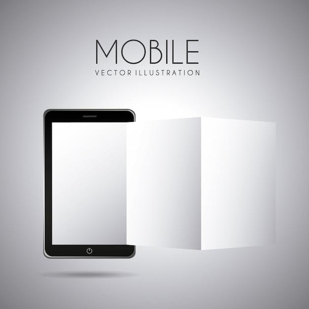 Design mobile su sfondo grigio illustrazione vettoriale Vettore Premium