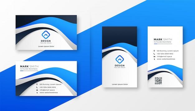 Design moderno biglietto da visita in stile onda blu Vettore gratuito