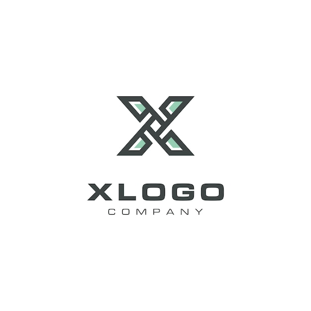Design moderno del logo dell'elica della lettera x. Vettore Premium