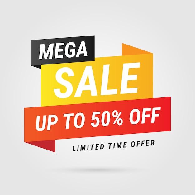 Design moderno di etichetta gialla mega vendita Vettore gratuito