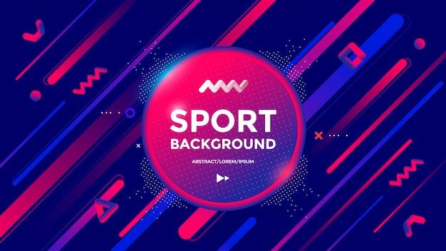 Design moderno di sfondo sportivo con linee e forme di gradienti dinamici. astratto geometrico alla moda Vettore Premium