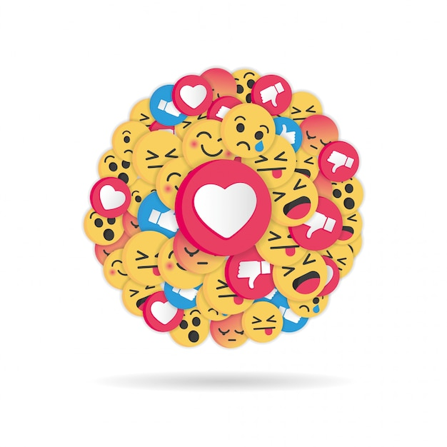 Design moderno emoji su sfondo bianco Vettore Premium