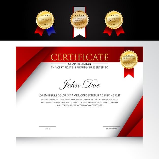 Design moderno modello certificato con opzioni di badge Vettore Premium