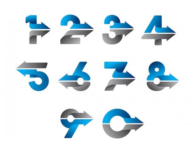 Design moderno numero freccia Vettore Premium