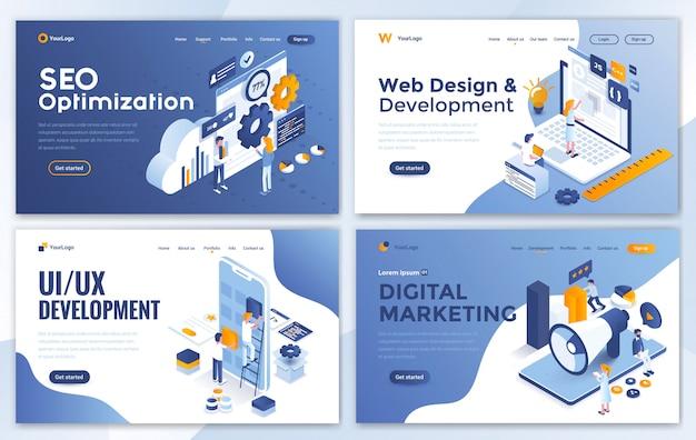 Design moderno piatto del modello di sito web Vettore Premium