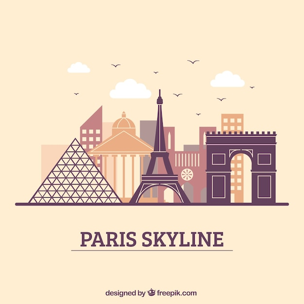 Design moderno skyline di parigi Vettore gratuito