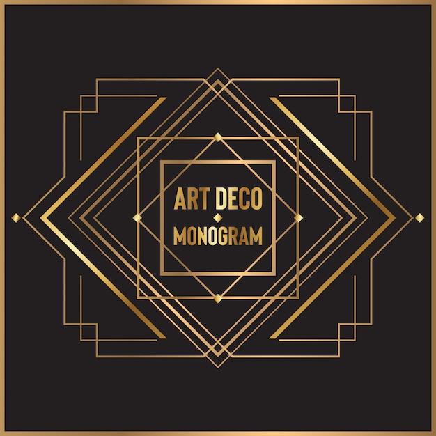 Design monogramma art deco Vettore Premium