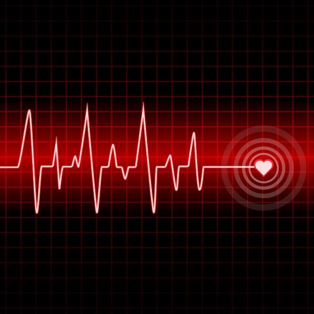 Design muta battito cardiaco con sfondo Vettore Premium