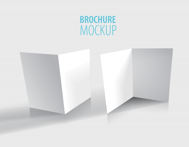 Design opuscolo bianco isolato su grigio. Vettore Premium
