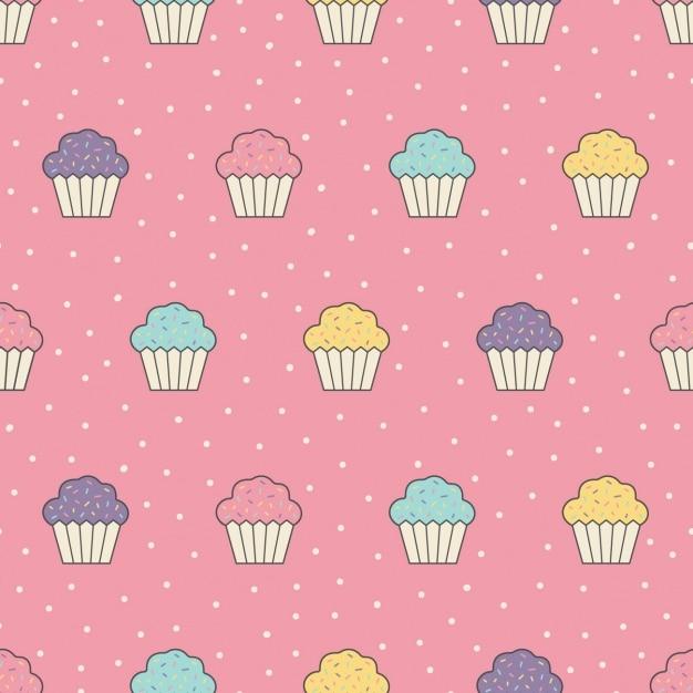 Design pattern cupcakes Vettore gratuito